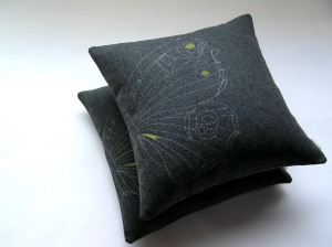 Embroidered Butterfly cushion in charcoal