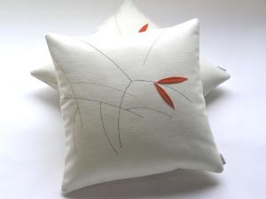 Cream twig cushion