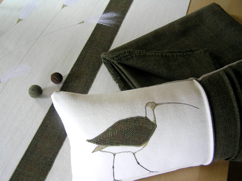 Bog Cotton blind, throw and Curlew cushion